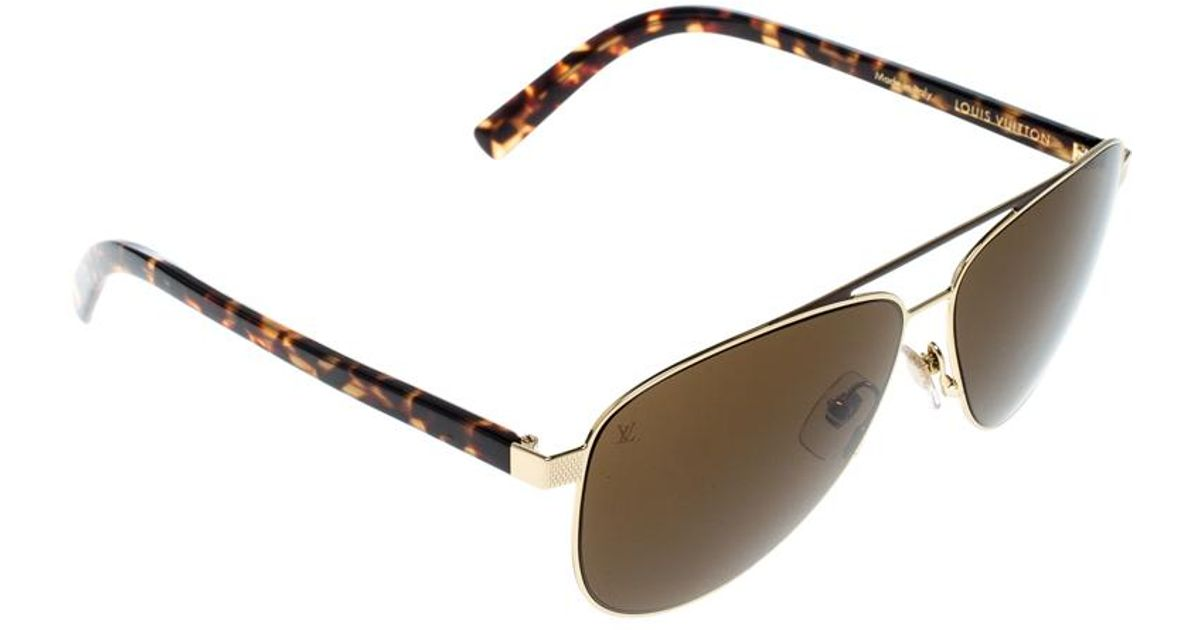 60577aaabb70a Louis Vuitton Gold   Z0846u Starship Aviator Sunglasses in Brown for Men -  Lyst