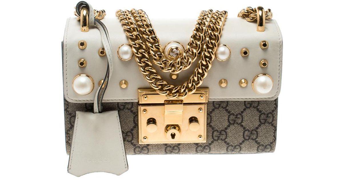f4db6284ddfc5e Gucci /off White GG Supreme Canvas Small Padlock Shoulder Bag in Natural -  Lyst
