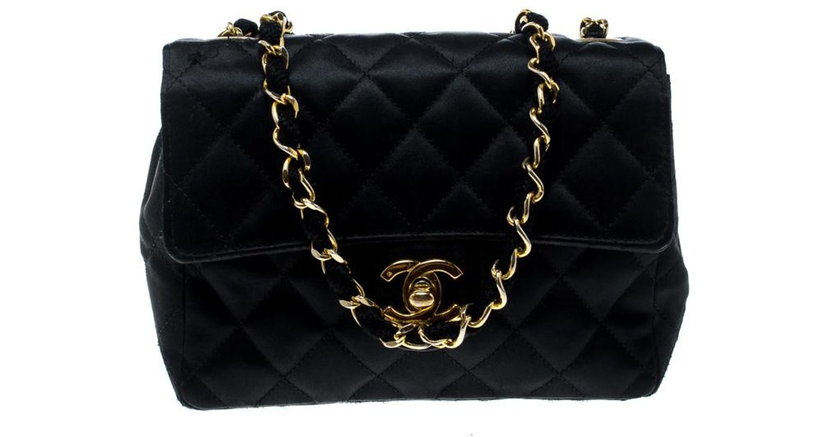 ba9bdf802a12b8 Chanel Quilted Satin Mini Vintage Classic Single Flap Bag in Black ...