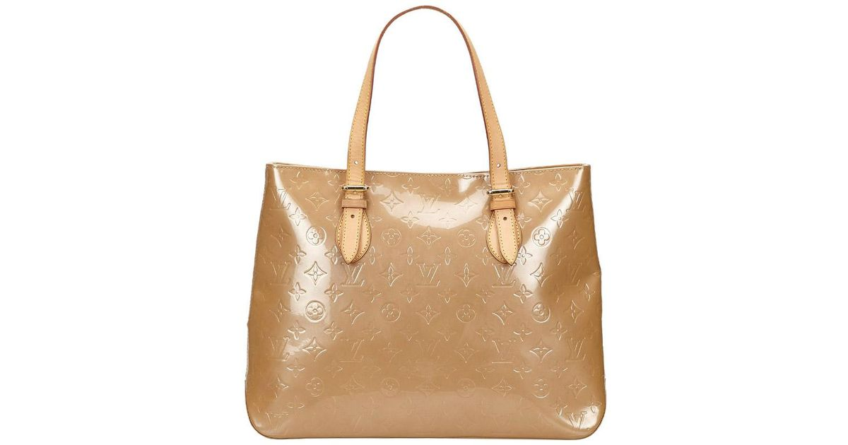 1a7c2cfa0573 Louis Vuitton Noisette Monogram Vernis Brentwood Bag in Natural - Lyst