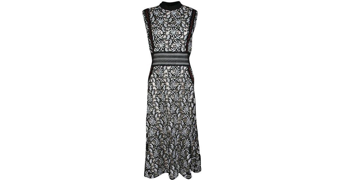 7d37e6a39132 Lyst - Self-Portrait Monochrome Floral Guipure Lace Paneled Sleeveless Midi  Dress M in Black