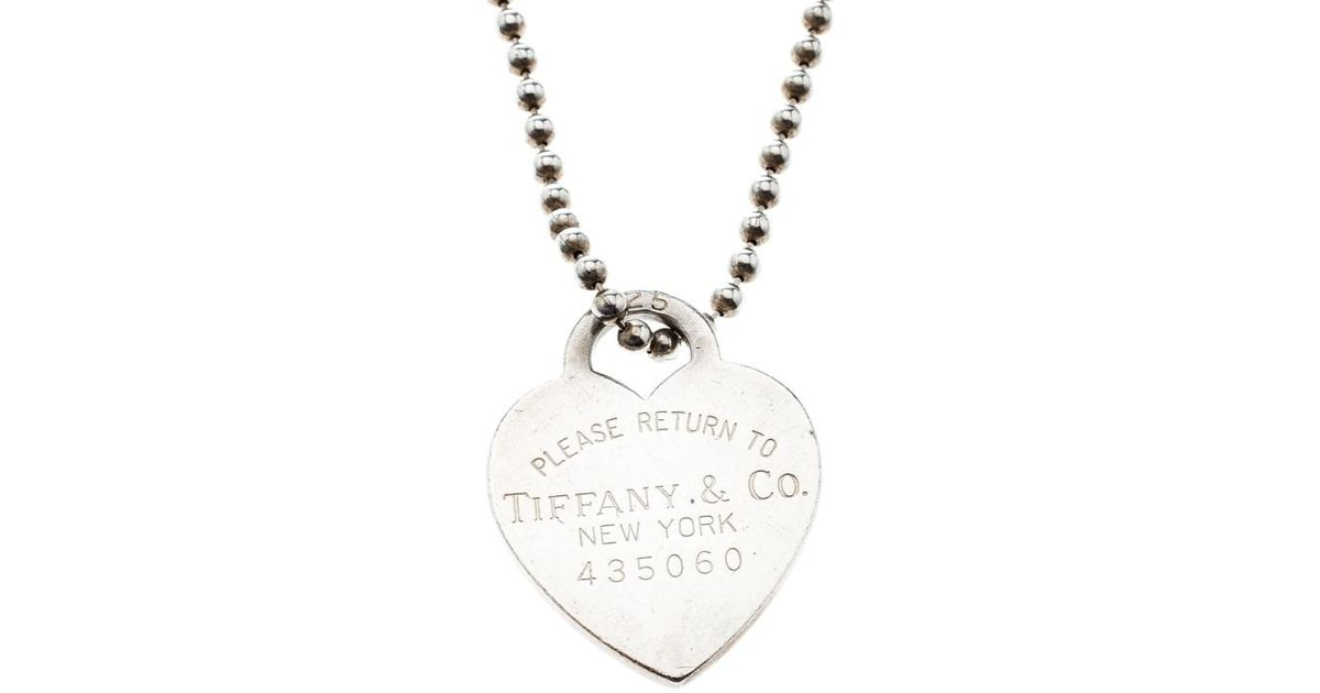 33a84073f Lyst Tiffany Co Return To Heart Tag Pendant Necklace In. Tiffany Co  34684421 T Smile ...