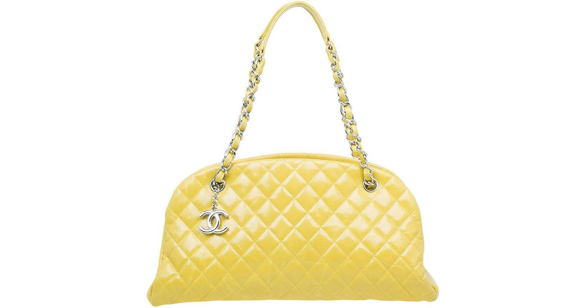 5edb64f4021581 Chanel Quilted Aged Calfskin Leather Mademoiselle Bowling Bag in Yellow -  Lyst