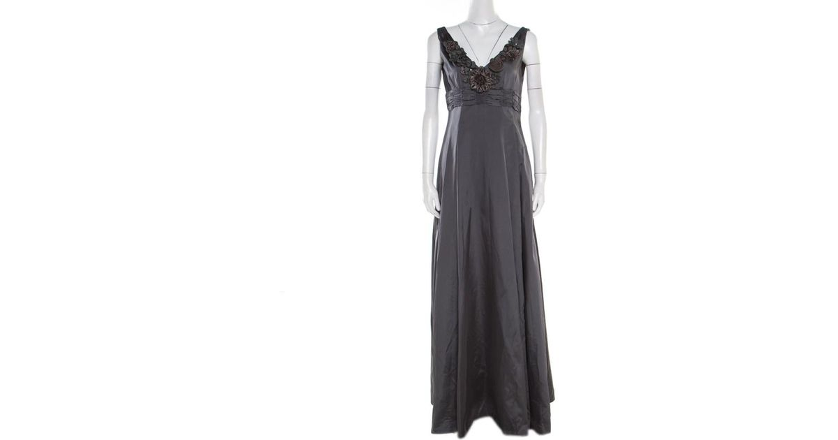 Lyst moschino silk satin floral applique evening gown m in gray