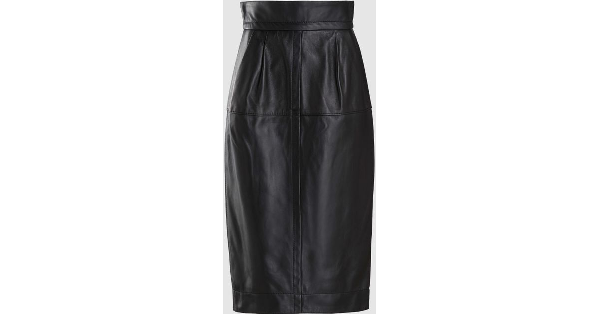 38374725b7 Marc Jacobs High-waist A-line Midi Lamb Leather Skirt in Black - Lyst