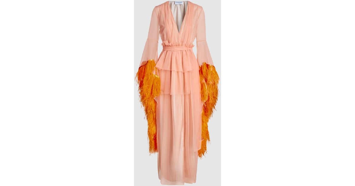 Evangeline Tulle Feather Boudoir Robe Gown Osman Discount The Cheapest Cheap 2018 New Many Kinds Of Cheap Online Cheap Sale 2018 New Outlet Explore 7PXUkjwDG