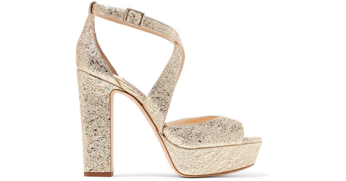 8c72370a7bd6 Lyst - Jimmy Choo Woman April 120 Metallic Cracked-leather Platform Sandals  Platinum