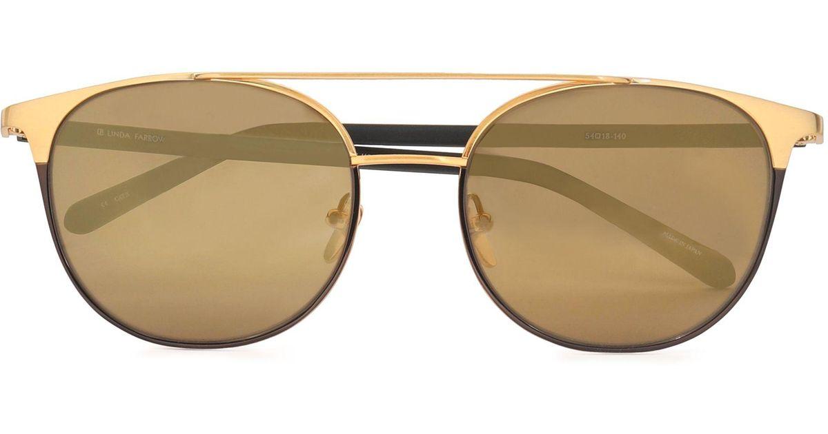 3287728a66 Lyst - Linda Farrow D-frame Acetate And Gold-tone Sunglasses in Metallic