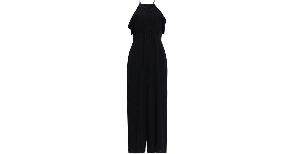 fb4e3105159 Zimmermann - Black Ruffled Silk Crepe De Chine Jumpsuit - Lyst