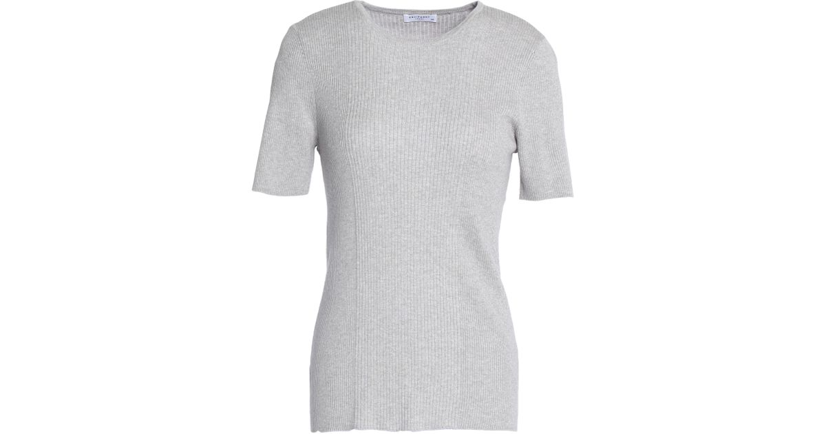 Equipment Woman Davenport Ribbed Cotton, Silk And Cashmere-blend T-shirt Light Gray Size L Equipment