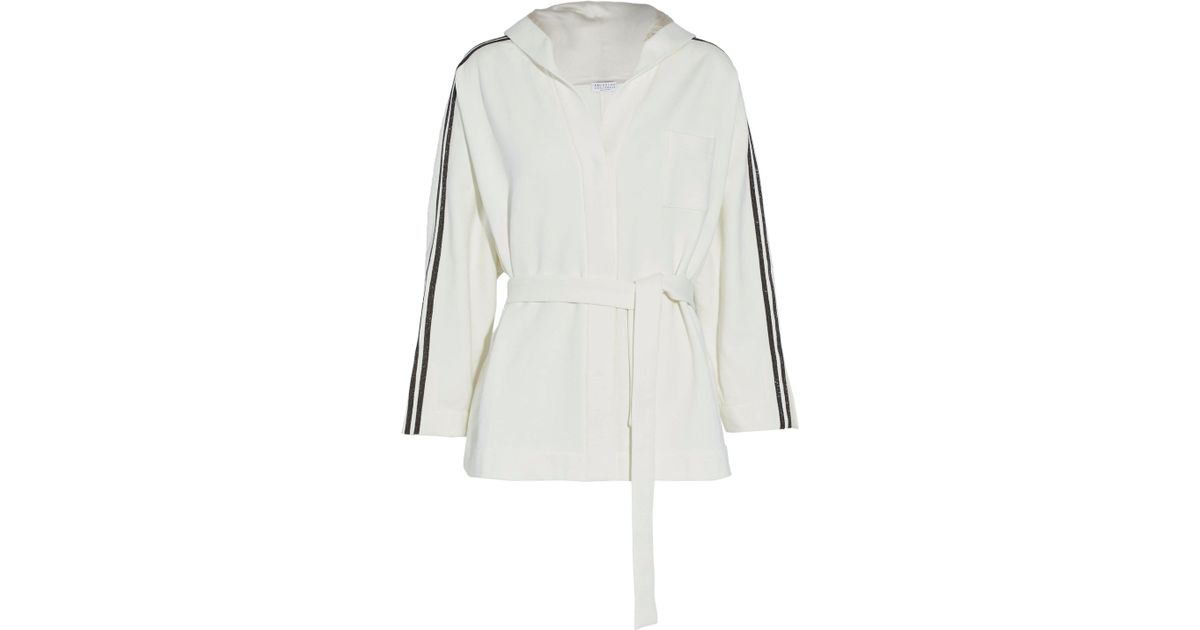 919602369 Lyst - Brunello Cucinelli Belted Beaded Cotton-terry Hooded Jacket