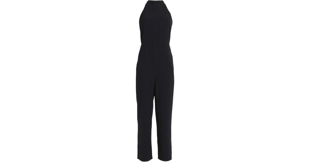 d324007c7276 Ganni Woman Crepe Halterneck Jumpsuit Black in Black - Lyst