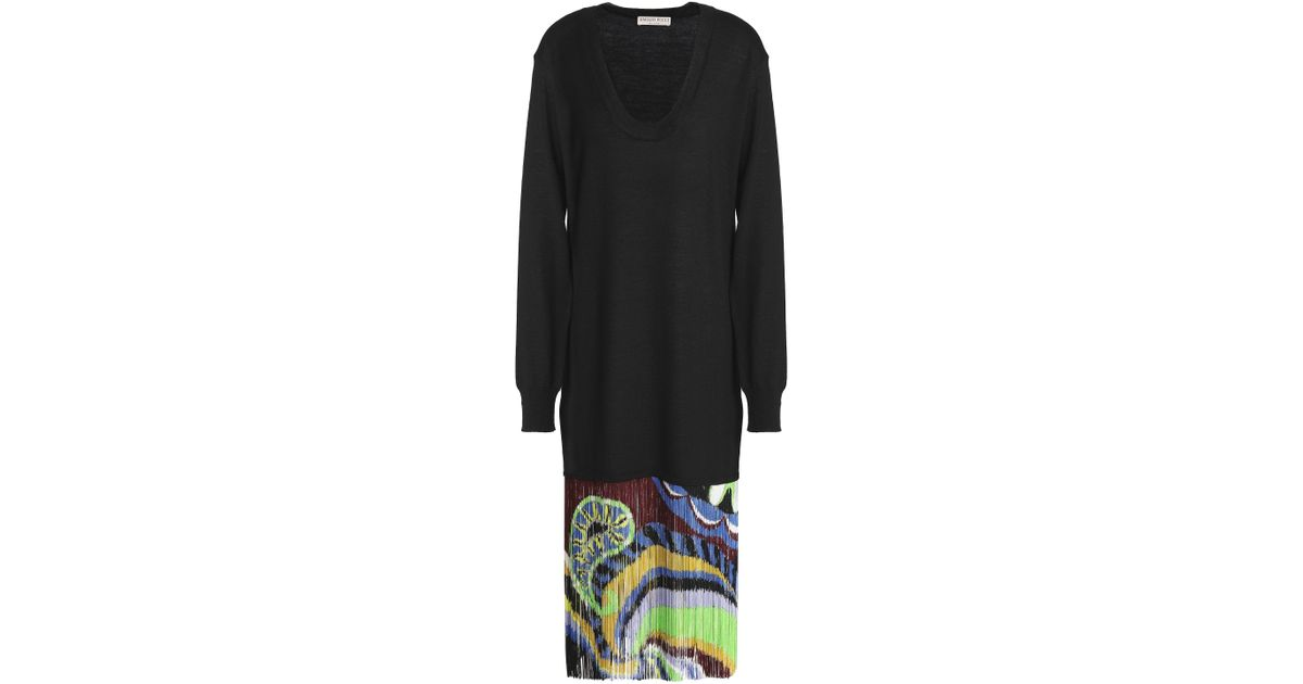 3c1419d855f1 Emilio Pucci Woman Printed Fringed Wool-crepe Skirt Black in Black - Lyst
