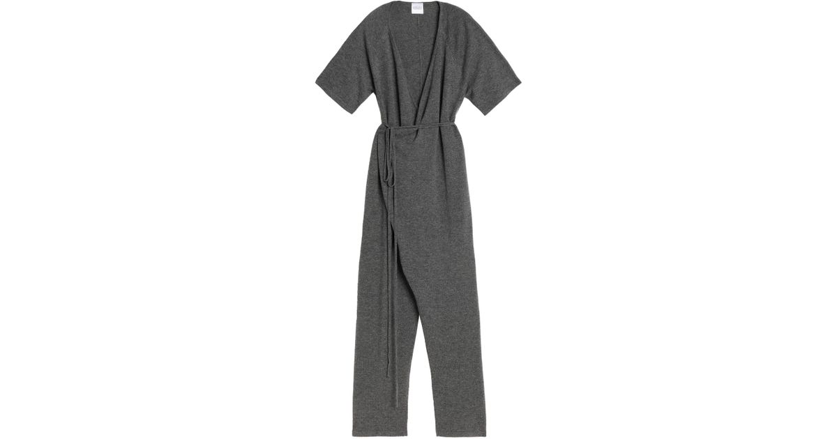 d8e40c079688 Madeleine Thompson Wrap-effect Wool And Cashmere-blend Jumpsuit in Gray -  Lyst
