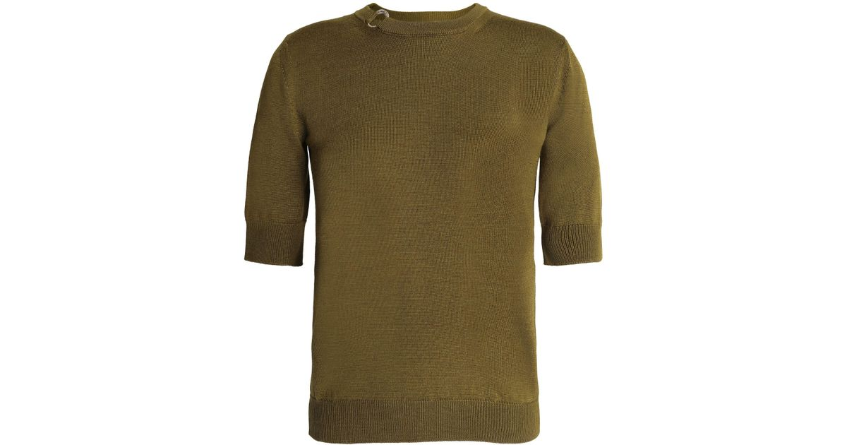 Buy Cheap Good Selling Cheap Cheap Online Nina Ricci Woman Rib-trimmed Stretch-knit Wool And Silk-blend Top Army Green Size M Nina Ricci Clearance Pre Order Inexpensive GNLstHh