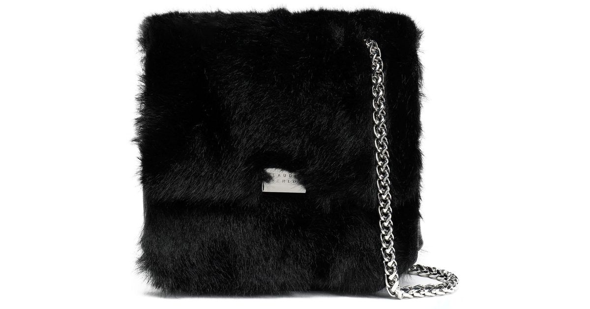 d780036632bb Claudie Pierlot Woman Textured-leather And Faux Fur Shoulder Bag Black Size  -- in Black - Lyst