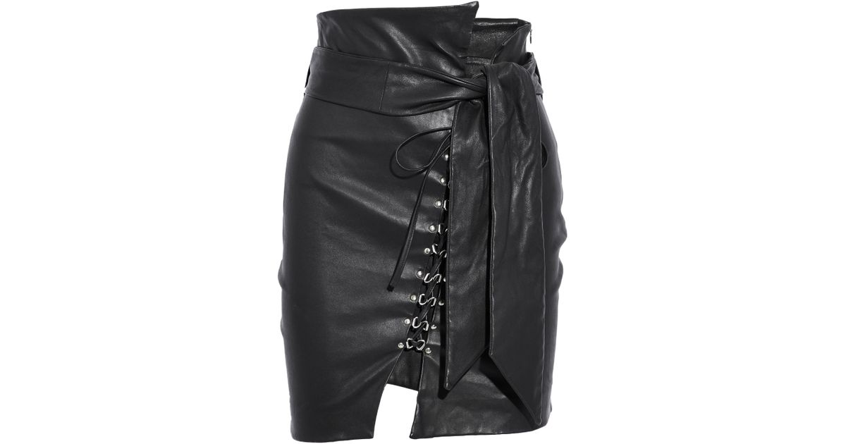 f0da66ac5 IRO Belted Lace-up Leather Mini Skirt in Black - Lyst