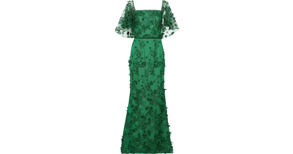 59d591b2 Marchesa notte Woman Off-the-shoulder Floral-appliquéd Embroidered Tulle  Gown Emerald in Green - Lyst