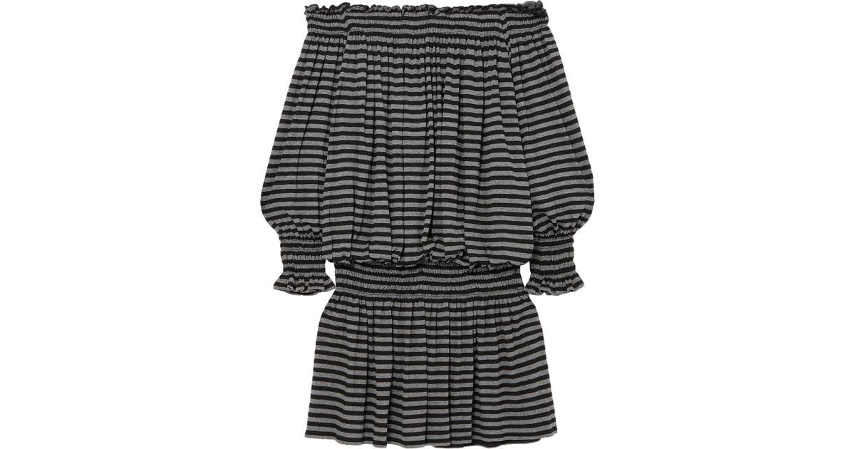 43337b813597f Norma Kamali Woman Off-the-shoulder Striped Stretch-jersey Mini Dress Black  in Black - Lyst