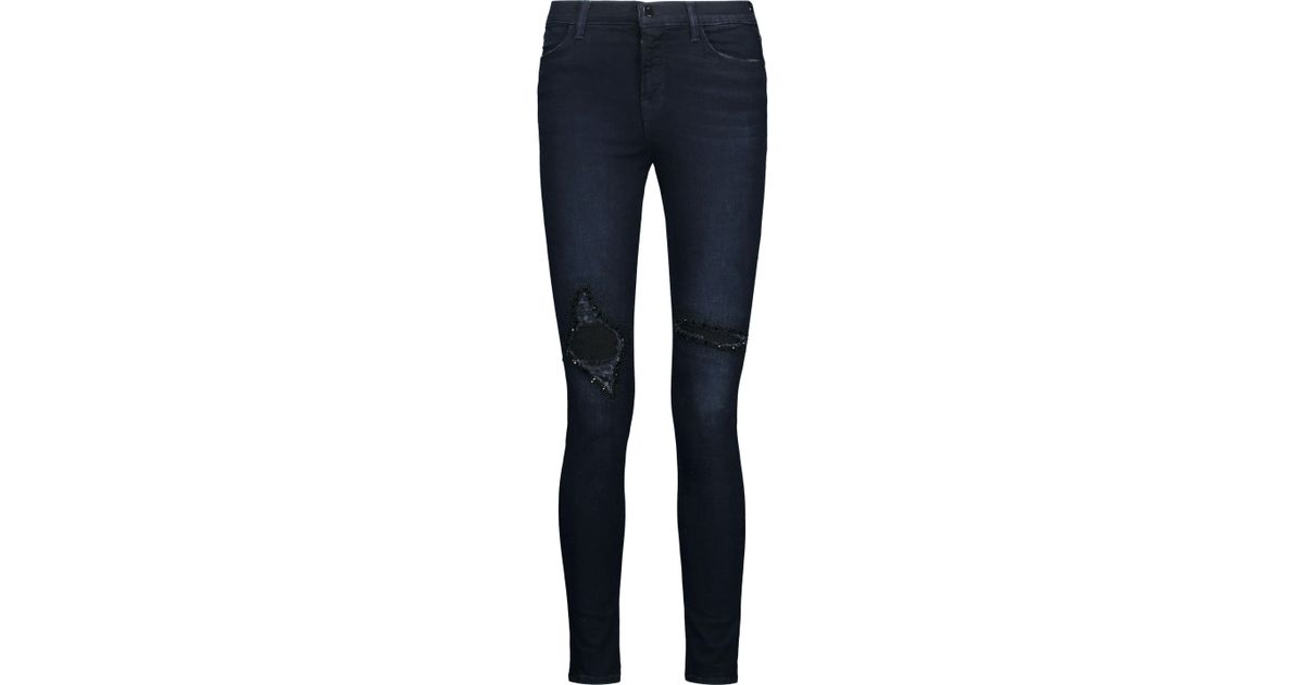 High rise skinny jeans dark