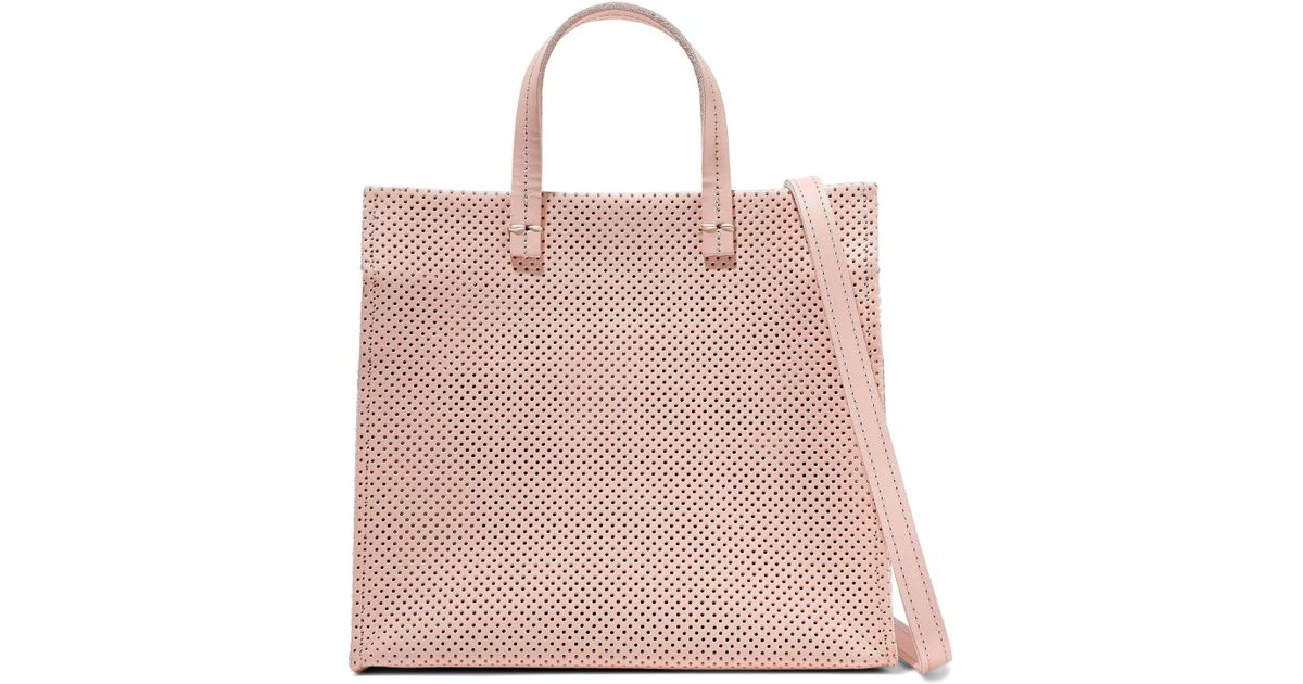 47eab6bfdfbf Lyst - Clare V. Woman Simple Perforated Leather Tote Baby Pink Size -- in  Pink