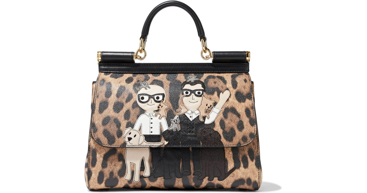 49833f6a91 Lyst - Dolce   Gabbana Sicily Appliquéd Leopard-print Textured-leather  Shoulder Bag
