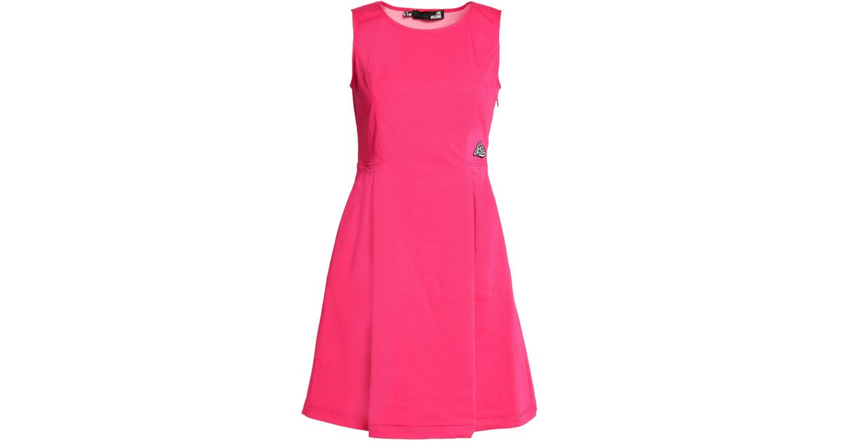 Free Shipping Big Sale Buy Sale Online Love Moschino Woman Appliquéd Pleated Cotton-blend Mini Dress Bright Pink Size 46 Love Moschino Clearance Supply 2018 New NAA9VuEw2