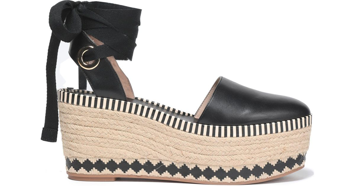 dabcbd936 Tory Burch Lace-up Leather Platform Espadrilles in Black - Lyst