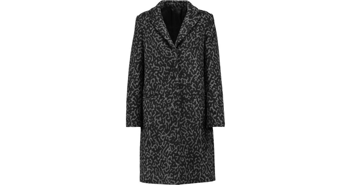 820779fb201f MSGM Leopard-print Wool-blend Coat in Black - Lyst