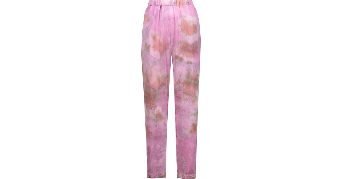 Womens Tie-Dyed Silk Satin Pants Raquel Allegra Factory Outlet Cheap Price Really Cheap Shoes Online For Sale Online oYQGLe2Wl1