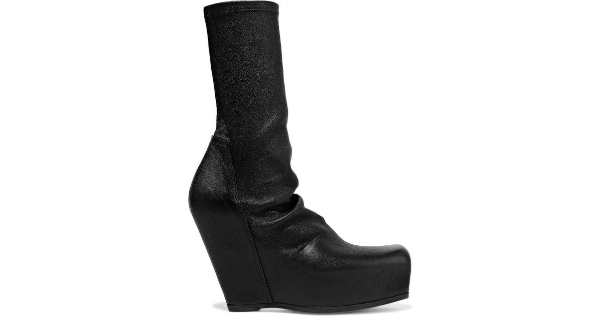 1c1a6600bb3 Lyst - Rick Owens Woman Stretch-leather Platform Sock Boots Black in Black