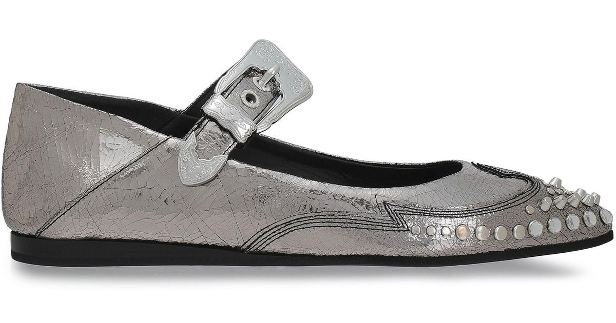 8d8c43c726b Lyst - McQ Woman Studded Metallic Cracked-leather Point-toe Flats Silver in  Metallic