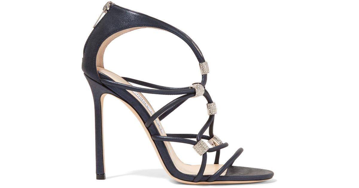 f7f9673193d48a Jimmy Choo Memento Tetrus Swarovski Crystal-embellished Leather Sandals in  Blue - Lyst