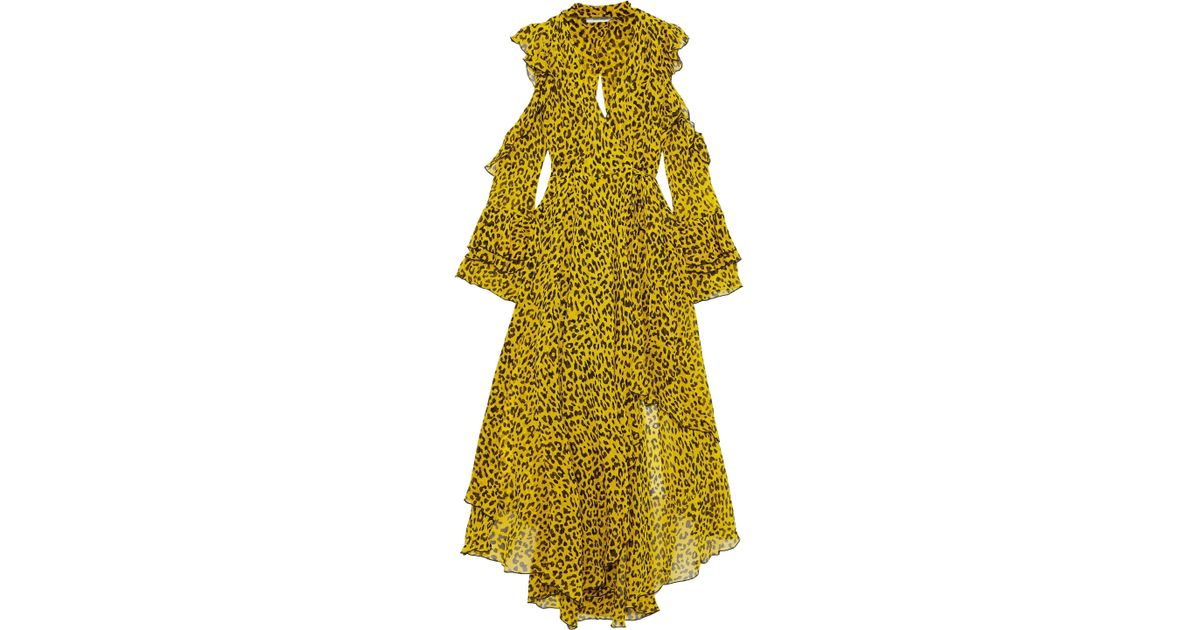 41a8260e21ca Diane von Furstenberg Woman Cold-shoulder Leopard-print Silk-georgette Maxi  Wrap Dress Yellow in Yellow - Lyst