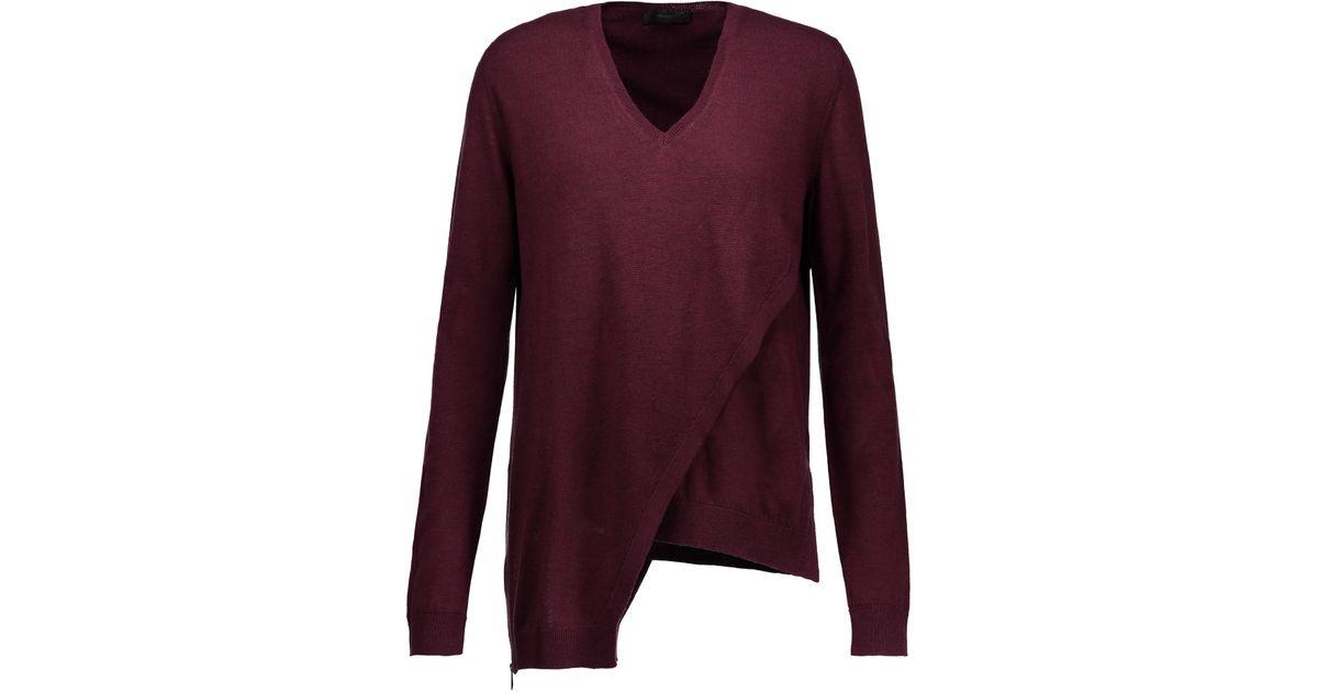 Discount Sneakernews Visit Cheap Online Belstaff Woman Lennox Asymmetric Wool Sweater Burgundy Size XL Belstaff xvTM6ye