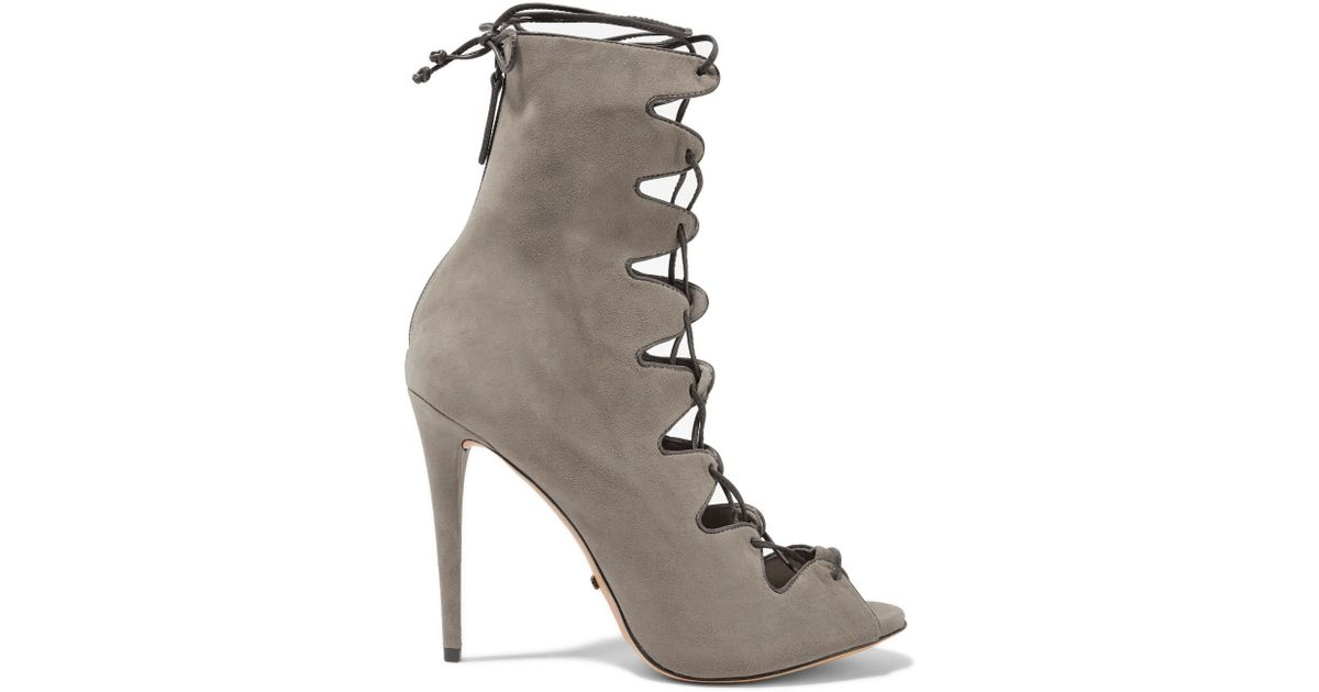 124d9e26dd4c Lyst - Schutz Leather-trimmed Suede Lace-up Sandals in Gray