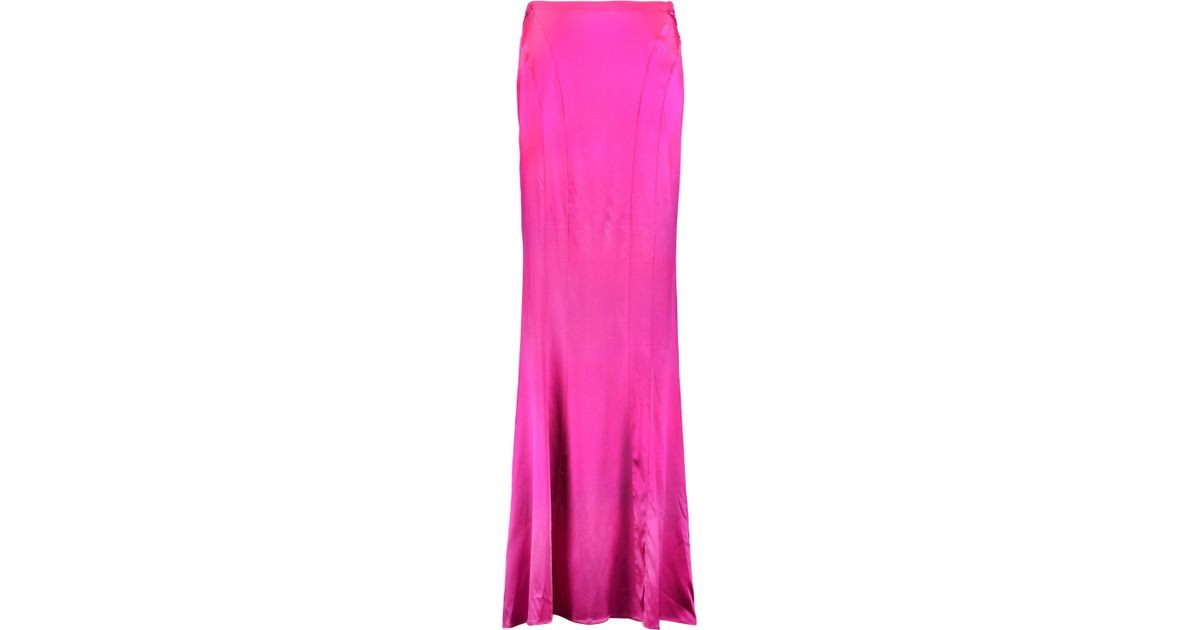 1772458006be6 Roberto Cavalli Woman Silk-blend Satin Maxi Skirt Fuchsia in Pink - Lyst