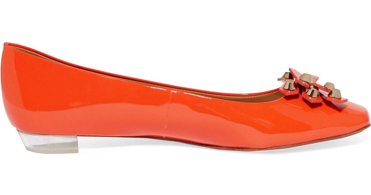 5af8d7ddae116d ... greece tory burch aurora embellished patent leather ballet flats tomato  red size 8.5 in red lyst