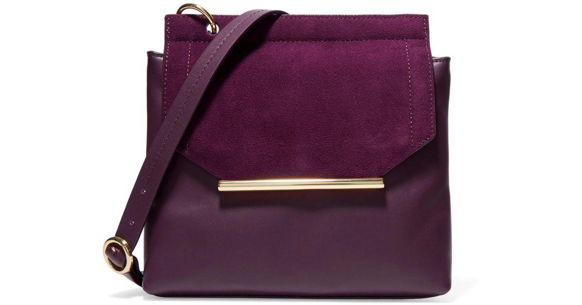 Lyst Halston Heritage Suede Trimmed Leather Shoulder Bag Dark Purple In