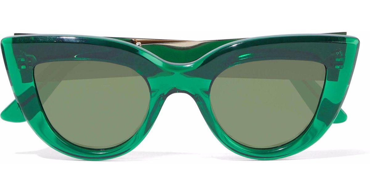 576c91186c437 Lyst - Ellery Quixote Cat-eye Tortoiseshell Acetate And Gold-tone Sunglasses  in Green
