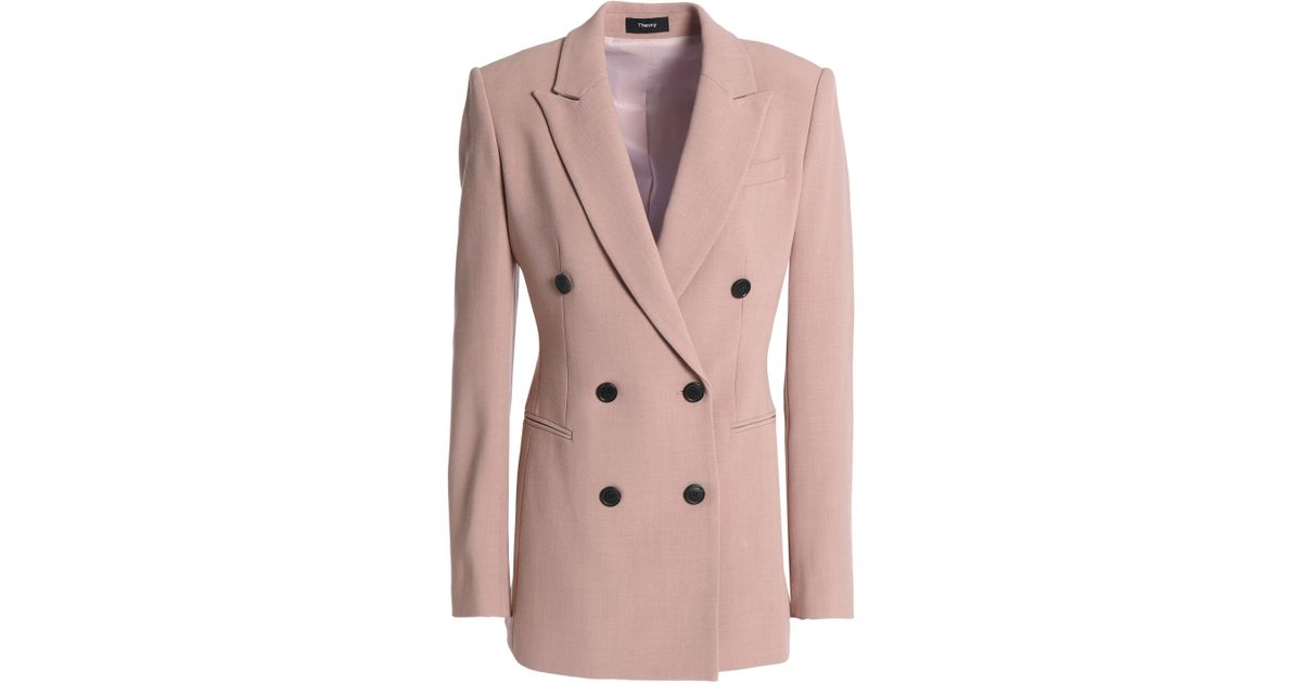 1430e5cdd3 Theory Woman Double-breasted Crepe Blazer Baby Pink in Pink - Lyst