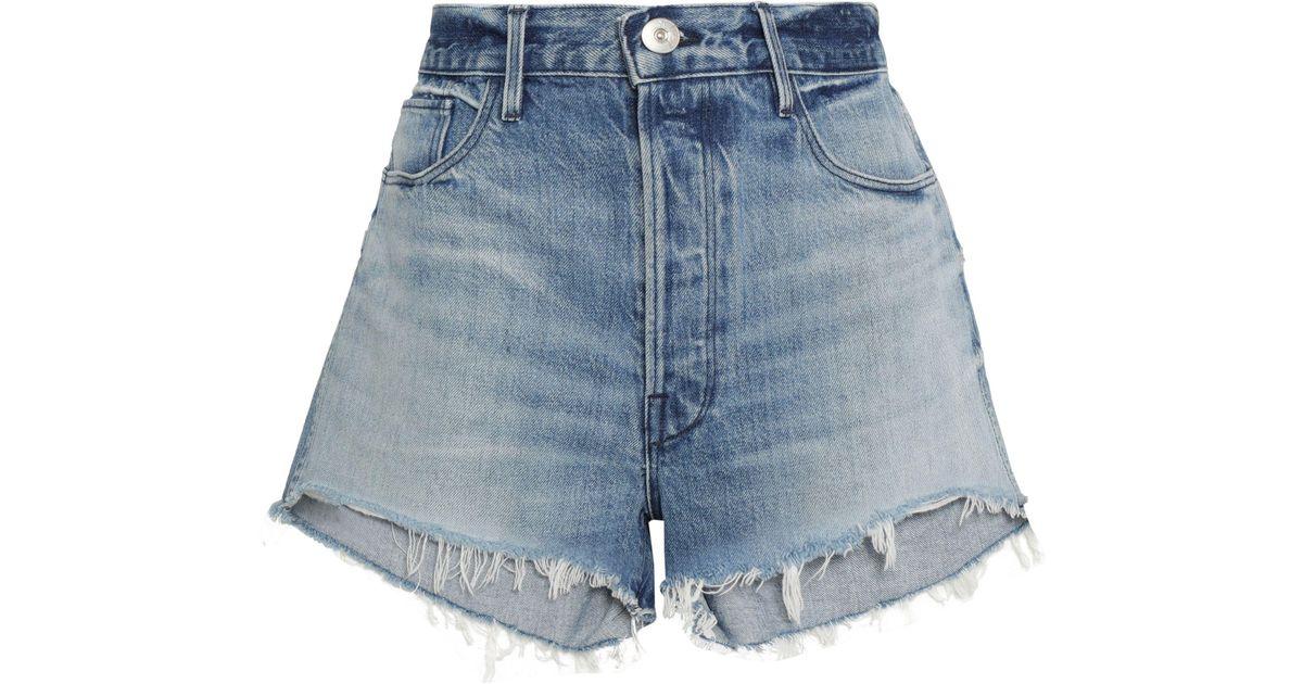 c0bcb8cc23 3x1 Woman Carter Chereen Frayed Denim Shorts Mid Denim in Blue - Lyst