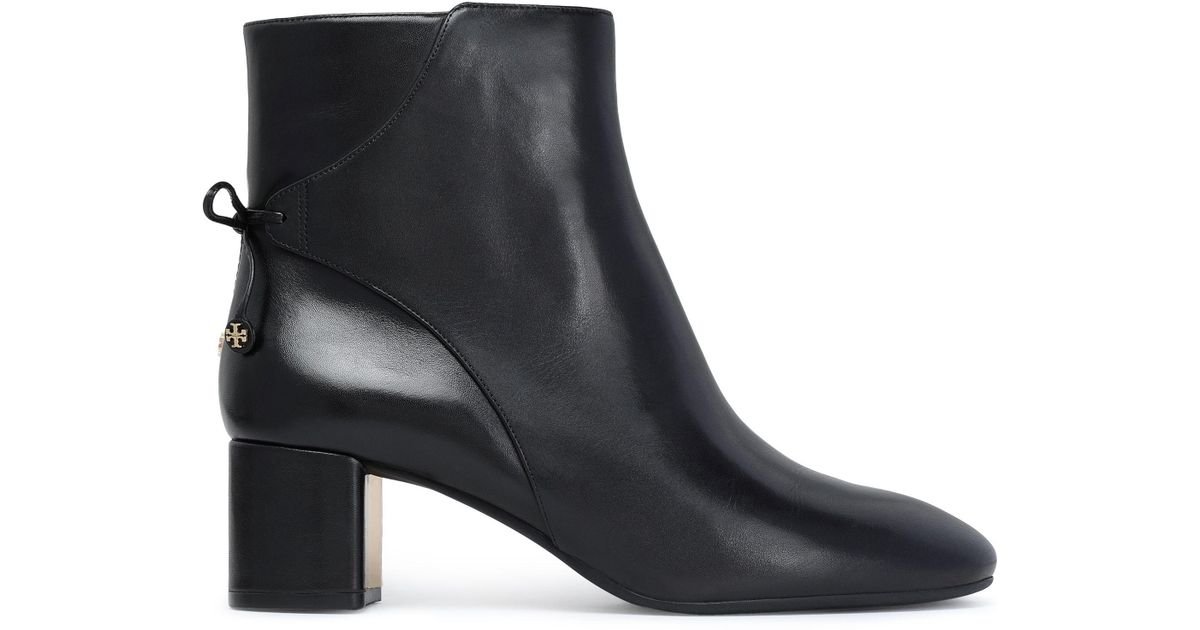 3be5677273667c Tory Burch Woman Bow-detailed Leather Ankle Boots Black Size 9.5 in Black -  Lyst