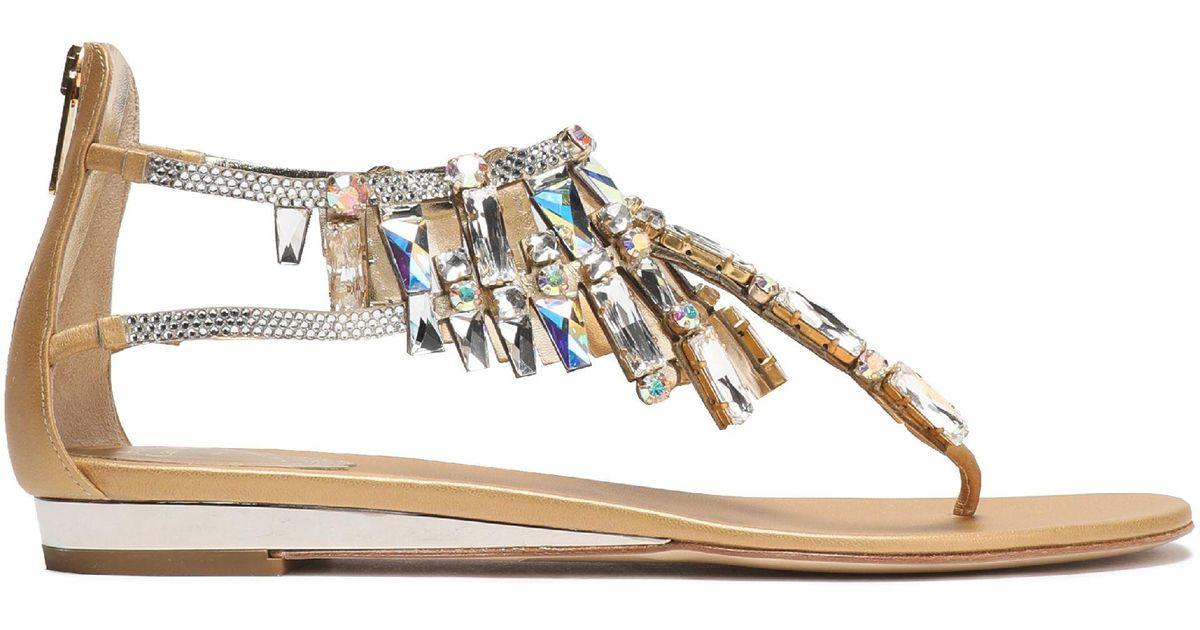 dd5ed5762023ec Lyst - Rene Caovilla Woman Crystal-embellished Metallic Leather Sandals  Gold in Metallic