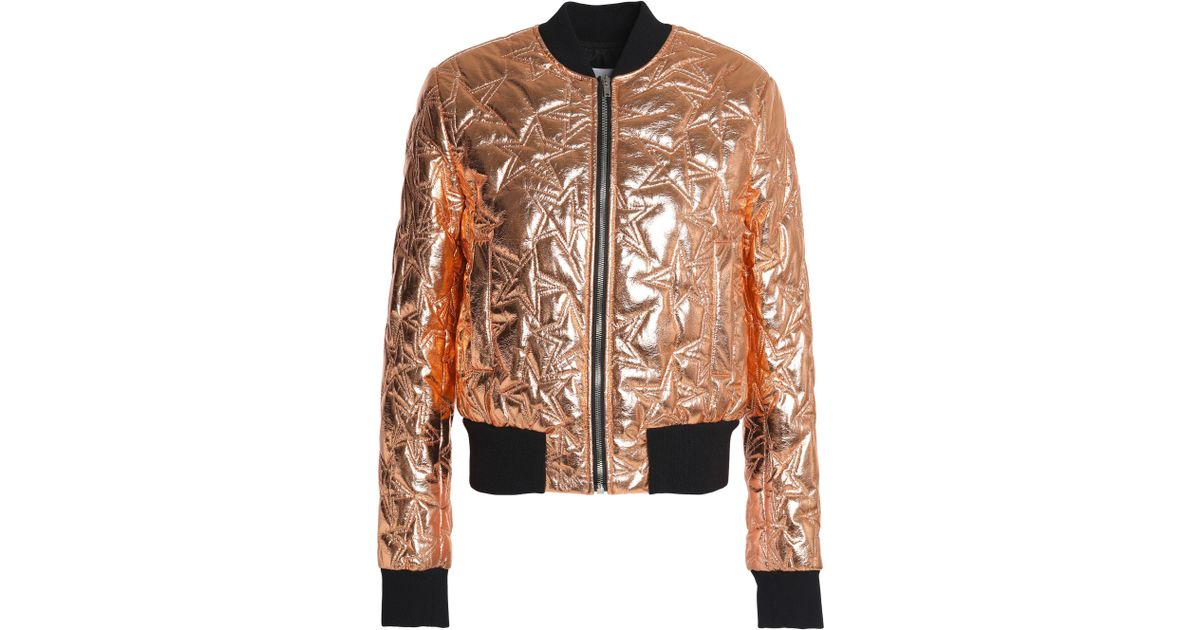 a4470b310f4 MSGM Quilted Metallic Faux Leather Bomber Jacket - Lyst