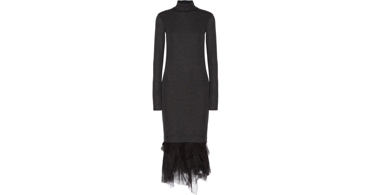 10023cf483973 Brunello Cucinelli Tulle-trimmed Wool-jersey Turtleneck Midi Dress in Gray  - Lyst