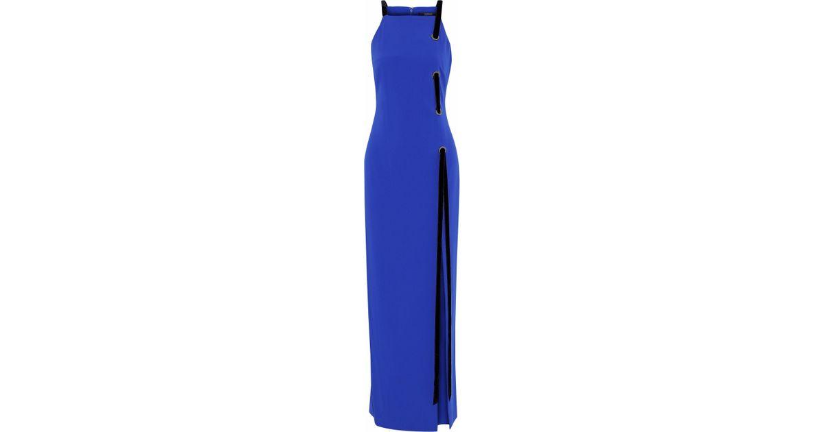 89dd4f83e266 Lyst - Badgley Mischka Eyelet-embellished Velvet-trimmed Cady Gown Bright  Blue in Blue