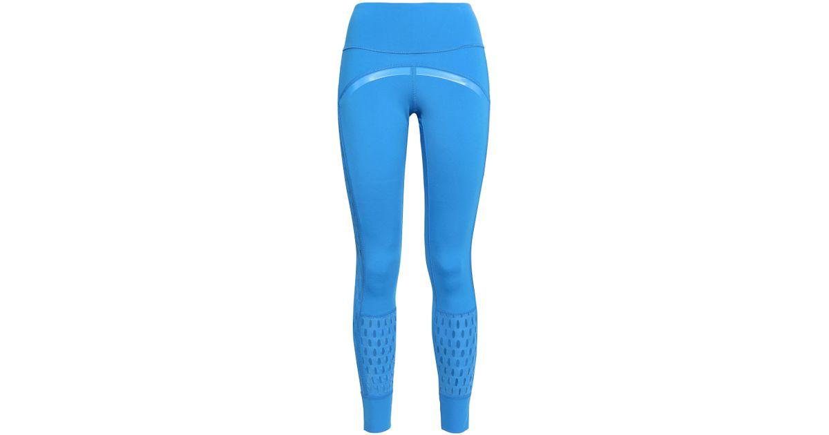 15e83ea20e4ba3 adidas By Stella McCartney Woman Cutout Tech-jersey Leggings Azure in Blue  - Lyst