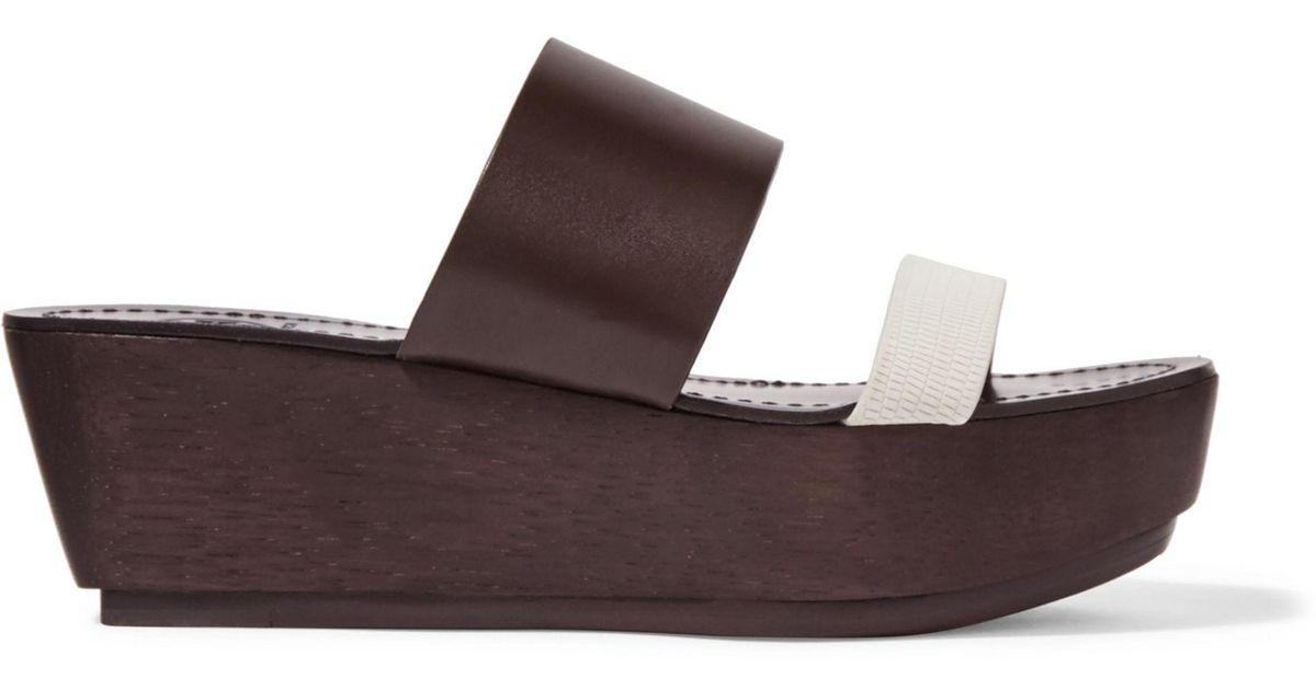 a0a4935f6fd4d0 Lyst - Tory Burch Two-tone Textured-leather Platform Sandals in Brown