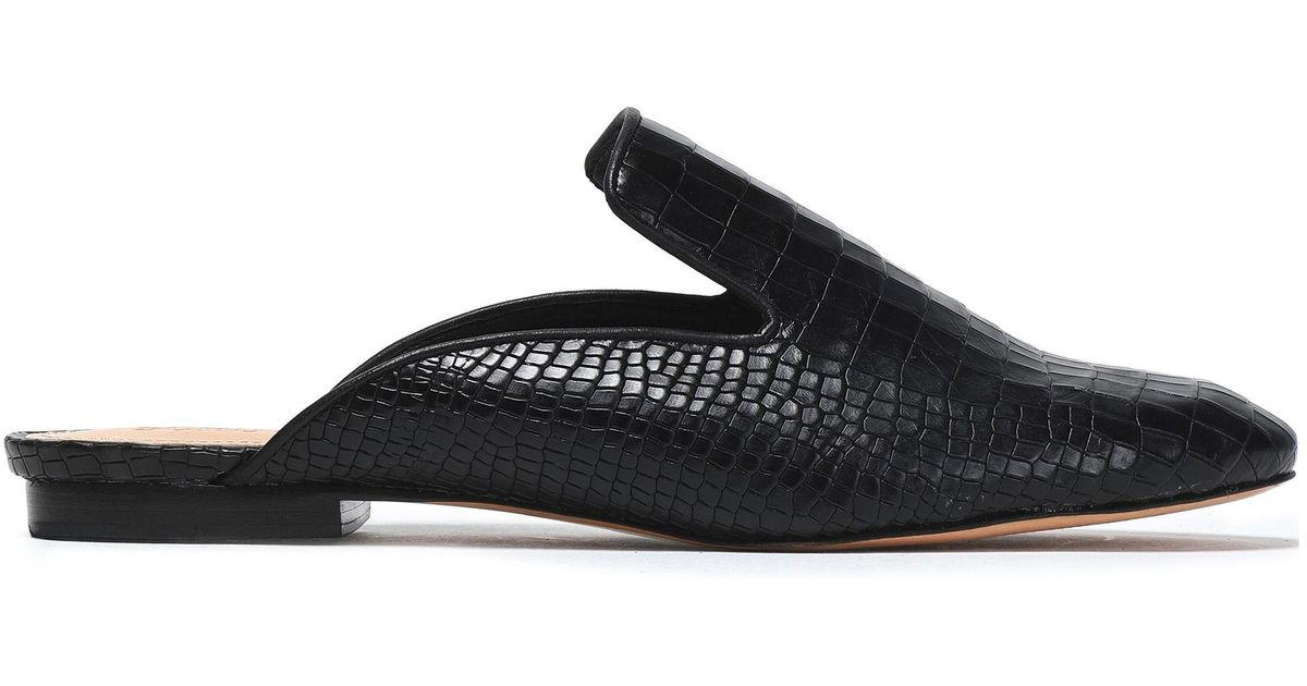 1cc094cc6884ad Lyst - Schutz Croc-effect Leather Slippers in Black